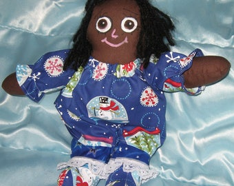JKW Primitive Handmade CHRISTMAS Snowman Dress Black Raggedy Ann Folk Art Cloth DOLL with Bloomers