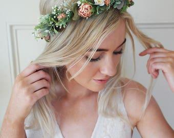 Coral flower crown- wedding crown, Coral wedding, gyp flower crown, rustic vine, pastel flower wreath, dusty miller crown, natural wedding