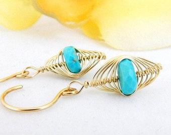 Sleeping Beauty Turquoise Earrings ~ Gold Fill Earrings ~ Blue Drop Earrings ~ AdoniaJewelry