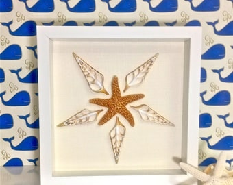 Beach Decor - Framed Natural Seahells and Starfish - coastal nautical embellished seashells starfish sealife