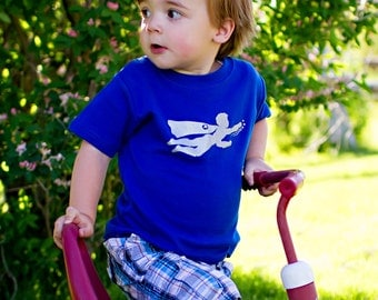Super Hero Short Sleeved Nostalgic Graphic Tee in Royal Blue with Silver Sparkle Ink Free Shipping