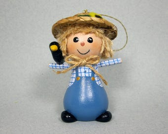 Halloween Scarecrow Ornament in Blue
