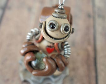 Mini Robot Sculpture Grungy Bot Marble Thief Mini, Techie Geek Gift, Cute Gifts for Her, Cute Gifts for Him, Adorable Robot Gift, OOAK Robot