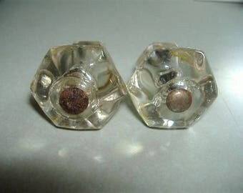 "lot of (2) 1 1/4"" Glass Hexagon Dresser Cabinet Bureau Drawer Knobs. 1920s Hardware. Non-matching Bolts Included."