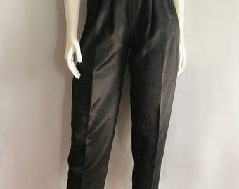 Vintage Women's 80's Black Pants, High Waisted, Tapered Leg (XS/S)