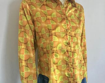 Vintage Womens 70's Disco Blouse, Polyester, Long Sleeve (S)