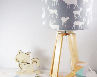 Grey Deer Fabric Lampshade on Wooden Table Lamp Base - Newborn Decor - Childs Light - Woodlands Lamp - Free Shipping