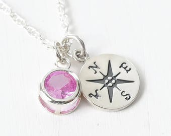 Graduation Gifts for Daughter Granddaughter Niece / Compass Necklace Sterling Silver with October Birthstone