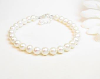 7mm Adult Real Pearl Bracelet - Freshwater Pearl Bracelet - Simple Pearl Bracelet - Classic Pearl Bracelet - White Pearl Bracelet - Sterling