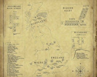 Fantasy Map Harry Potter Magical Great Britain, 12x12, 16x16, 20x20, 24x24, 30x30