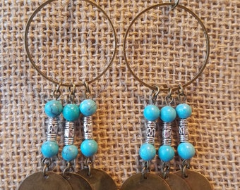 Classic southwest chic turquoise and sliver drop earrings