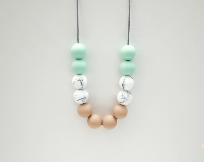 Cayman Silicone Beaded Sensory Tan, Marble and Mint Necklace