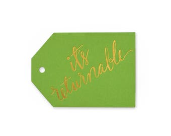 It's Returnable - set of 6 letterpress tags