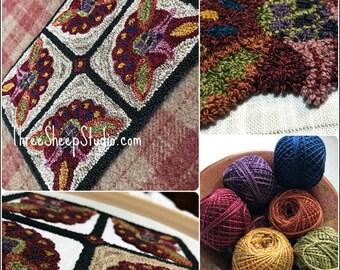 Punch Needle Pattern - Scarlet Blossom, Garden Block  - #PN548 - Needlepunch Embroidery