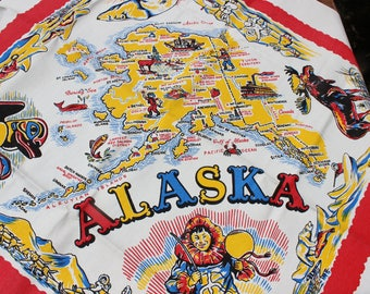Tablecloth Alaska Cactus cloth Map State Souvenir MWT Mint With Tag VINTAGE By Plantdreaming