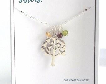 Sister Jewelry Birthstone - Sister Birthstone Necklace - Family Tree Birthstone Necklace - Custom Sister Jewelry - Sister Jewelry Idea