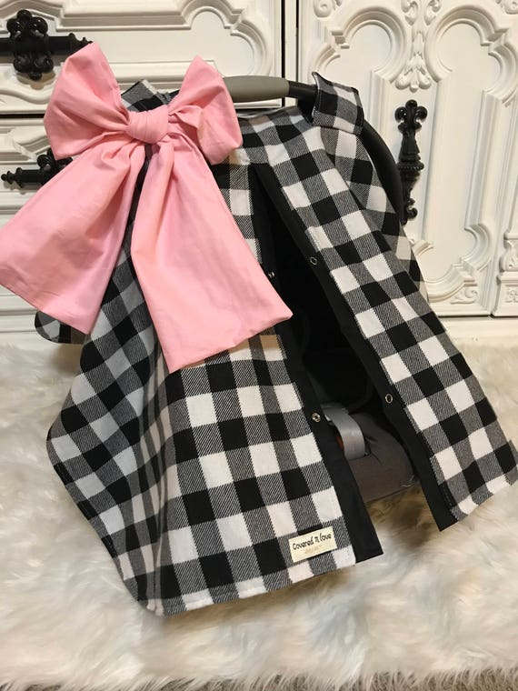 car seat canopy , plaid , black and white  , buffalo plaid , Pink and gold arrow