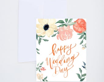 Wedding / Love Greetings - Happy Wedding Day - Painted & Hand Lettered Cards - A-2