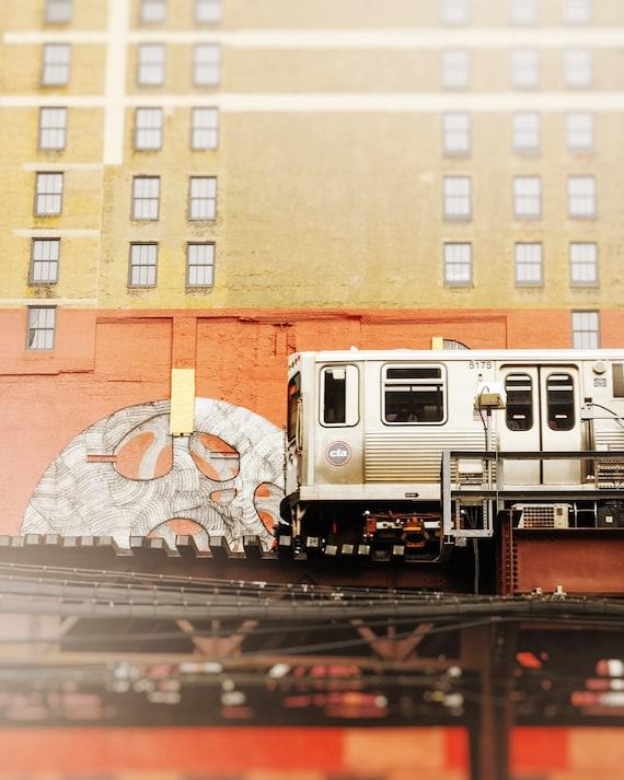 Train Wall Art Print, Chicago Skyline, CTA Loop Decor, Green Line - Dark Orange, Brick Red, Beige Artwork, Cityscape Chicago, Pop of Color