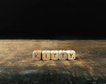 Vintage Kitty Sign, Shabby Chic Decor, Letter Blocks, Scrabble Blocks, Rustic Decor, Scrabble Cubes, Letter Tiles
