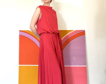 Vintage 1970s Jumpsuit Raspberry Wide Leg Palazzo Draped Grecian 70s Disco Glam XS/S