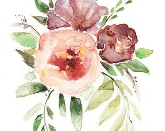 Pink Bouquet Watercolor  • 5x7, 8x10, 11x14 Giclée Print • Floral Art