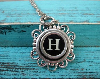 Antique Typewriter Key Necklace Initial H