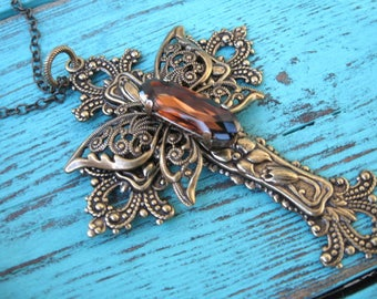 Brass Crystal Butterfly Cross Necklace - N210