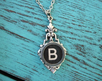 Typewriter Key Jewelry - Typewriter Necklace Letter B