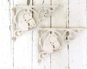 Equestrian Decor, White Shelf Corner Brackets, Horse Brackets, Cottage Chic, Wall Brackets, Weathered Architectural Detail, Country Western