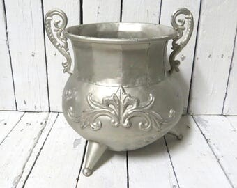 Garden Planter, Tin Planter, Rustic Planter, Cottage Decor, French Farmhouse, Plant Holder, Silver Planter, Flower Container, Flower Pot