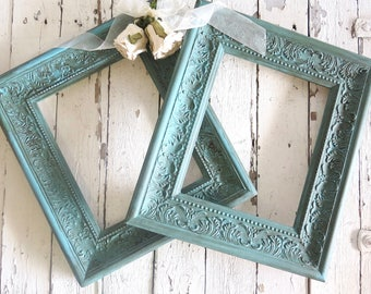 French Country Frames, Vintage Inspired Frames, Painted Aqua Frames, Fancy Ornate Frames, French Cottage Wall Frames, 8x10 frames