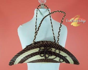 Boho Straw Purse, Half Moon Palm Leaf Bag, Retro Crescent Bohemian Basket, Braided Straw Handles, Vintage Festival Woven Purse