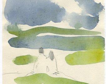 together, summertime, original watercolor