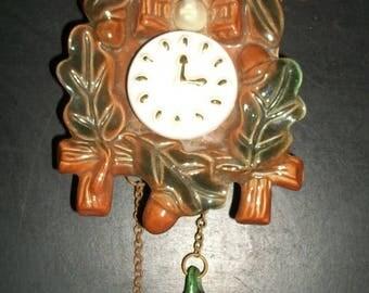 Vintage Cuckoo Clock Ceramic Wall Pocket
