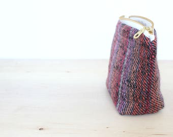 Small wool zip pouch purple striped tweed