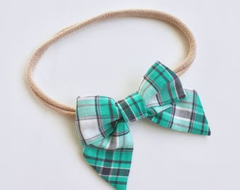 Petite Peanut Bitty Bow Headband - Minty Turquoise and Gray Plaid - Baby Girl Toddler - (Made to Order)