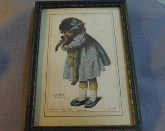 Bessie Pease Gutmann, Love is Blind No 206, Period Postcard, Framed, circa 1910