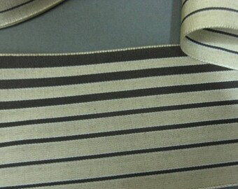Y938 Vintage ribbon 1930s rayon faille stripe 2 5/8 in cream w brown