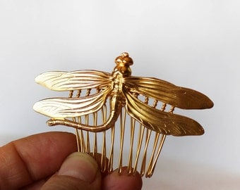 Dragonfly Comb, Gold Comb, Fairytale Jewelry, Nature Inspired Hair Accessory, Magical Fairy Hair Jewelry, Rustic Wedding Comb, Goddess Comb