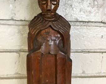 Vintage Wooden Hand Carved Saint Religious Figure Statue Relic Wall Hanging