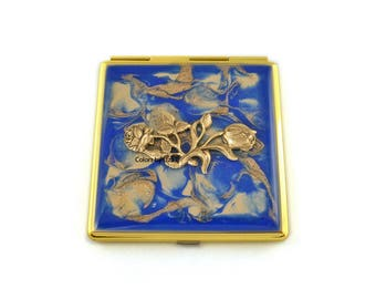 Victorian Flowers Compact Mirror Inlaid in Hand Painted Enamel Cobalt Blue and Gold Quartz with Color and Personalized Option