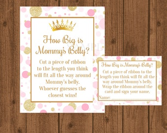 Princess Pink and Gold How Big is Mommy's Belly, Pink and Gold Baby Shower, Mommy's Belly Baby Shower Game, Girl Baby Shower, Princess Baby
