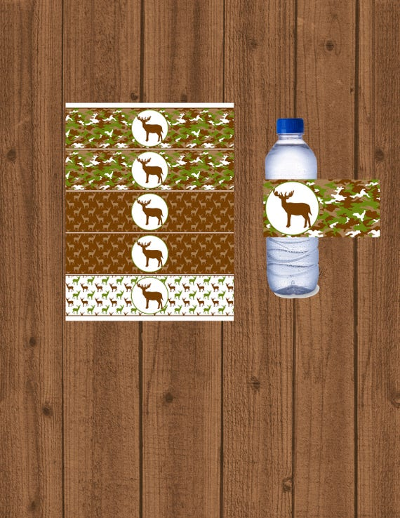 Hunting Water Bottle Labels, Hunting Birthday Party, Hunting Baby Shower,  Water Bottle Labels, Instant Download