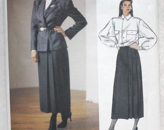 """Size 14. bust 36"""" Vintage  Vogue American Designer Sewing Pattern 1477  Ralph Lauren Jacket, Skirt and Blouse with Sew-in Label"""