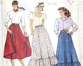 """Size 8 10 12  Waist 24"""" - 26.5""""  Vintage McCall's  Sewing Pattern 3170 Full, Flared Skirt Front Button or Side Opening"""
