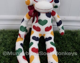 CLEARANCE Sock Monkey made with Hudson's Bay Company Point Blanket Heart Socks