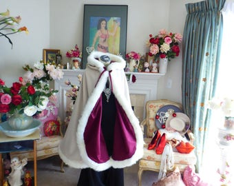 Mirror Mirror Bridal Cape Burgundy Satin / Champagne Satin 37-inch wedding cloak Reversible Hooded with fur trim Handmade in USA