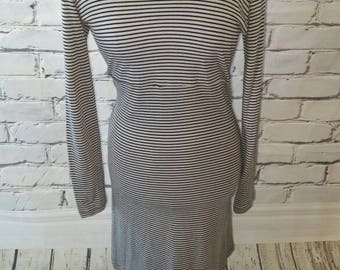 Black and Gray Striped Dress with Peter Pan Collar