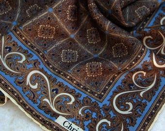 Vintage silk  CHRISTIAN DIOR handkerchief. vintage Christian Dior scarf, Dior print handkerchief